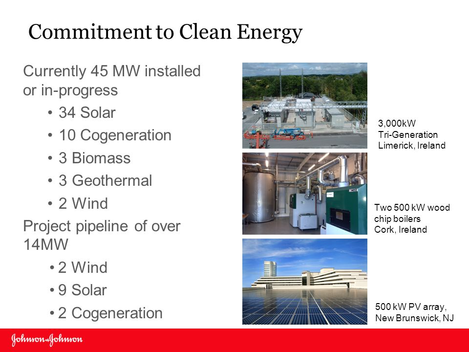 Commitment to Clean Energy 3,000kW Tri-Generation Limerick, Ireland Currently 45 MW installed or in-progress 34 Solar 10 Cogeneration 3 Biomass 3 Geot