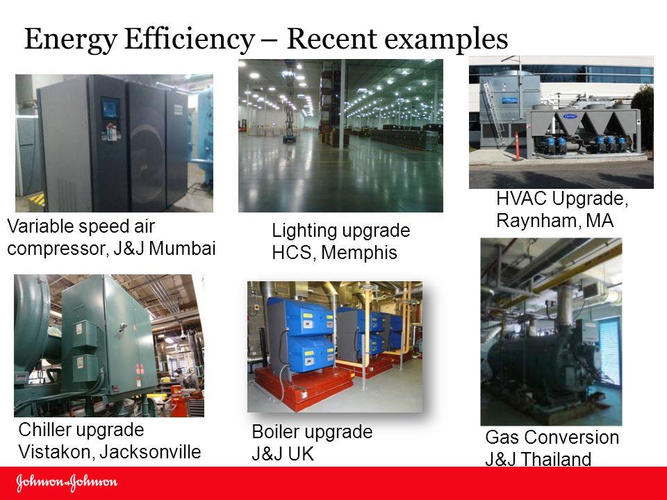 Gas Conversion J&J Thailand Variable speed air compressor, J&J Mumbai HVAC Upgrade, Raynham, MA Chiller upgrade Vistakon, Jacksonville Lighting upgrad