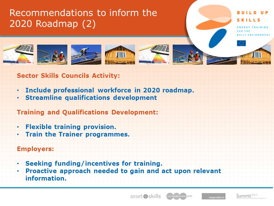 Recommendations to inform the 2020 Roadmap (2) Recommendations to inform the 2020 Roadmap (2) IEE/11/BW1/479/S , 11/ /13, Sector Skills Councils Activity: Include professional workforce in 2020 roadmap.