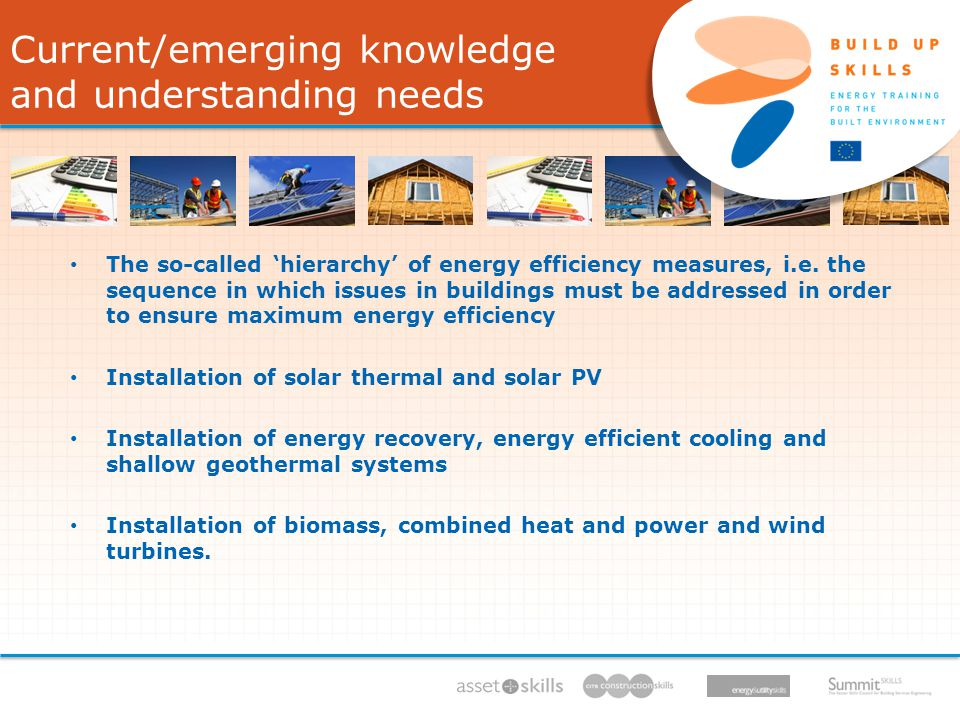 IEE/11/BW1/479/S , 11/ /13, Current/emerging knowledge and understanding needs The so-called hierarchy of energy efficiency measures, i.e.