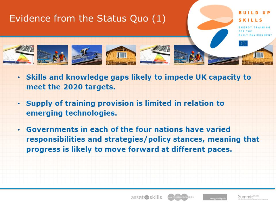 Evidence from the Status Quo (1) IEE/11/BW1/479/S , 11/ /13, Skills and knowledge gaps likely to impede UK capacity to meet the 2020 targets.