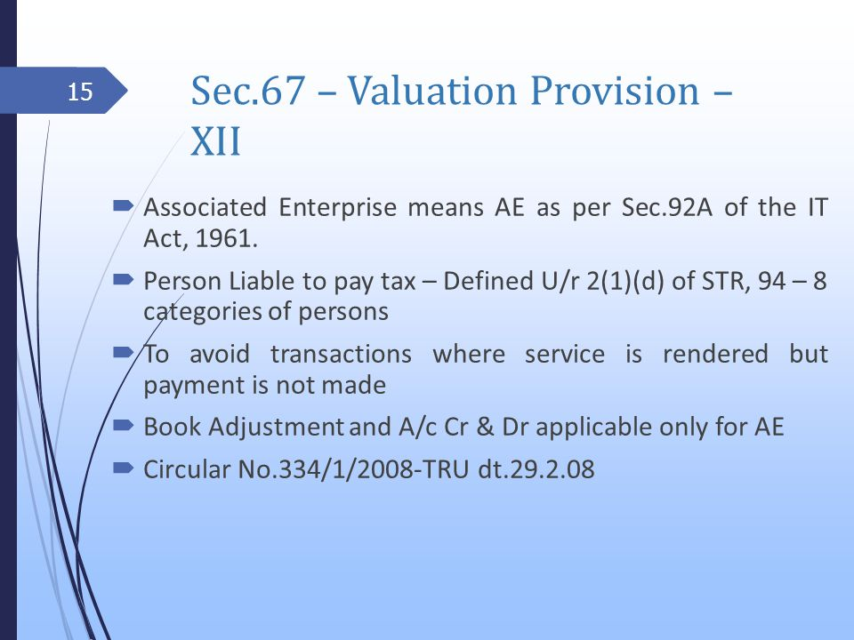 Sec.67 – Valuation Provision – XII Associated Enterprise means AE as per Sec.92A of the IT Act, 1961.