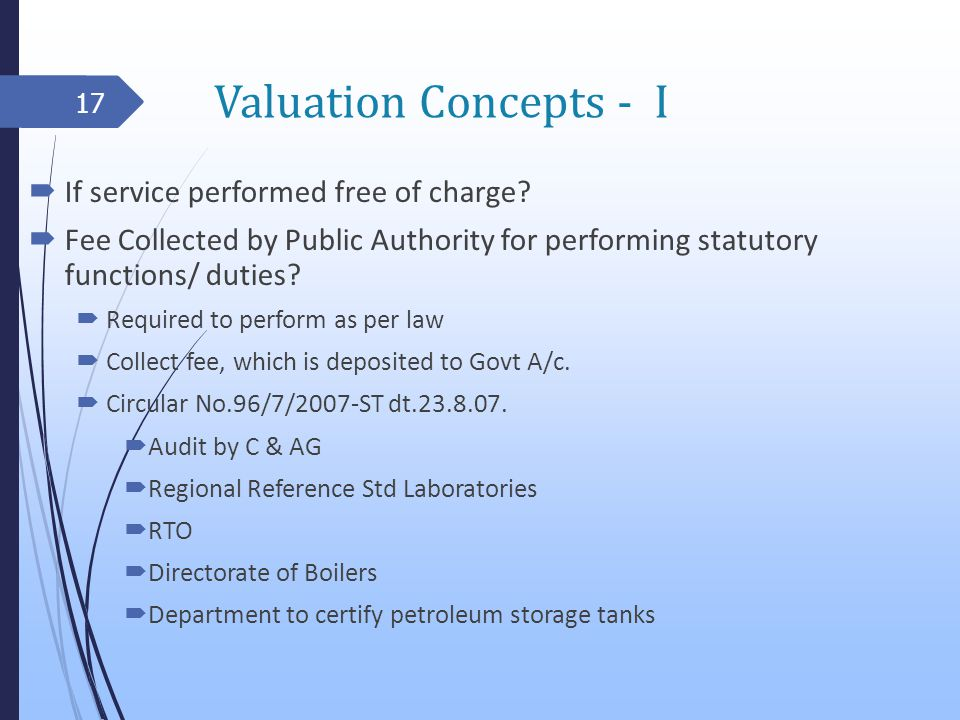 Valuation Concepts - I If service performed free of charge.