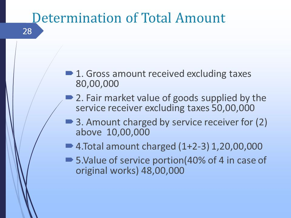 Determination of Total Amount 1. Gross amount received excluding taxes 80,00,000 2.