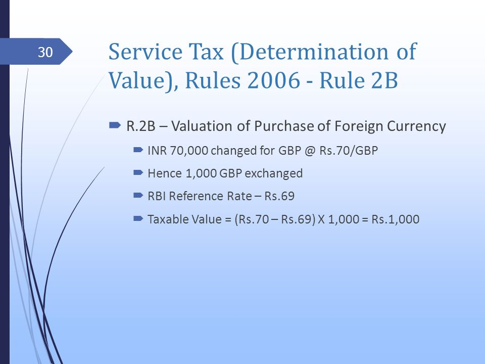 Service Tax (Determination of Value), Rules 2006 - Rule 2B R.2B – Valuation of Purchase of Foreign Currency INR 70,000 changed for GBP @ Rs.70/GBP Hence 1,000 GBP exchanged RBI Reference Rate – Rs.69 Taxable Value = (Rs.70 – Rs.69) X 1,000 = Rs.1,000 30