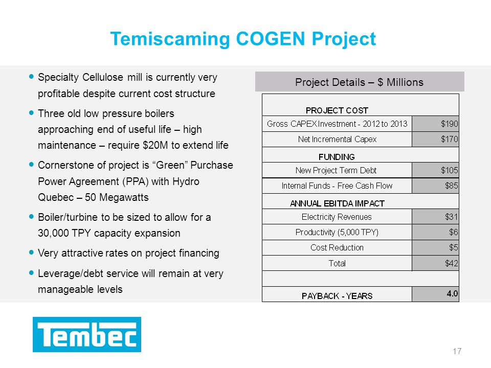 17 Temiscaming COGEN Project 17 Project Details – $ Millions Specialty Cellulose mill is currently very profitable despite current cost structure Three old low pressure boilers approaching end of useful life – high maintenance – require $20M to extend life Cornerstone of project is Green Purchase Power Agreement (PPA) with Hydro Quebec – 50 Megawatts Boiler/turbine to be sized to allow for a 30,000 TPY capacity expansion Very attractive rates on project financing Leverage/debt service will remain at very manageable levels
