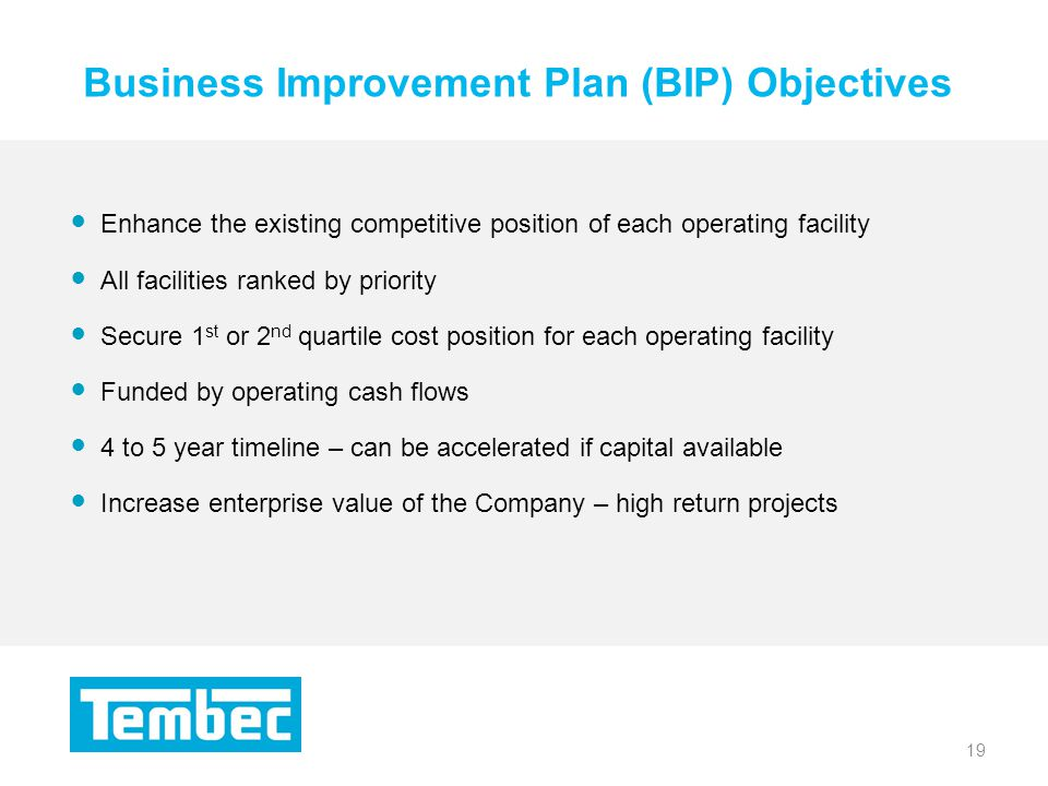 19 Business Improvement Plan (BIP) Objectives 19 Enhance the existing competitive position of each operating facility All facilities ranked by priority Secure 1 st or 2 nd quartile cost position for each operating facility Funded by operating cash flows 4 to 5 year timeline – can be accelerated if capital available Increase enterprise value of the Company – high return projects