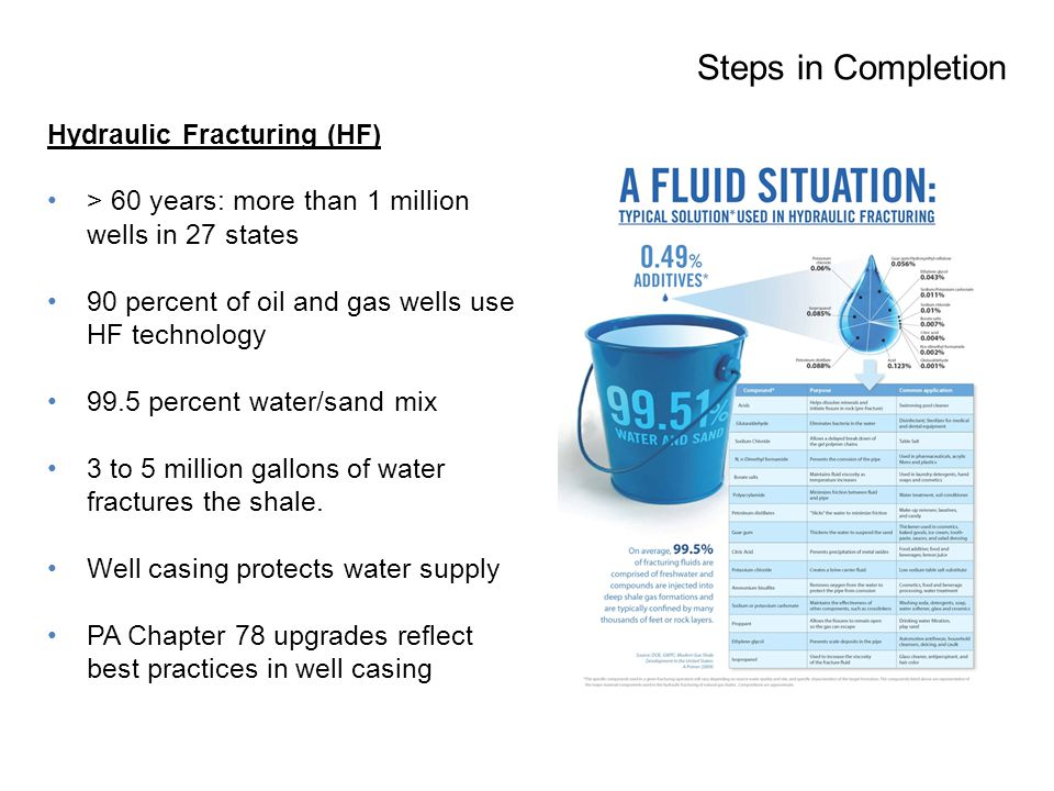 Hydraulic Fracturing (HF) > 60 years: more than 1 million wells in 27 states 90 percent of oil and gas wells use HF technology 99.5 percent water/sand mix 3 to 5 million gallons of water fractures the shale.