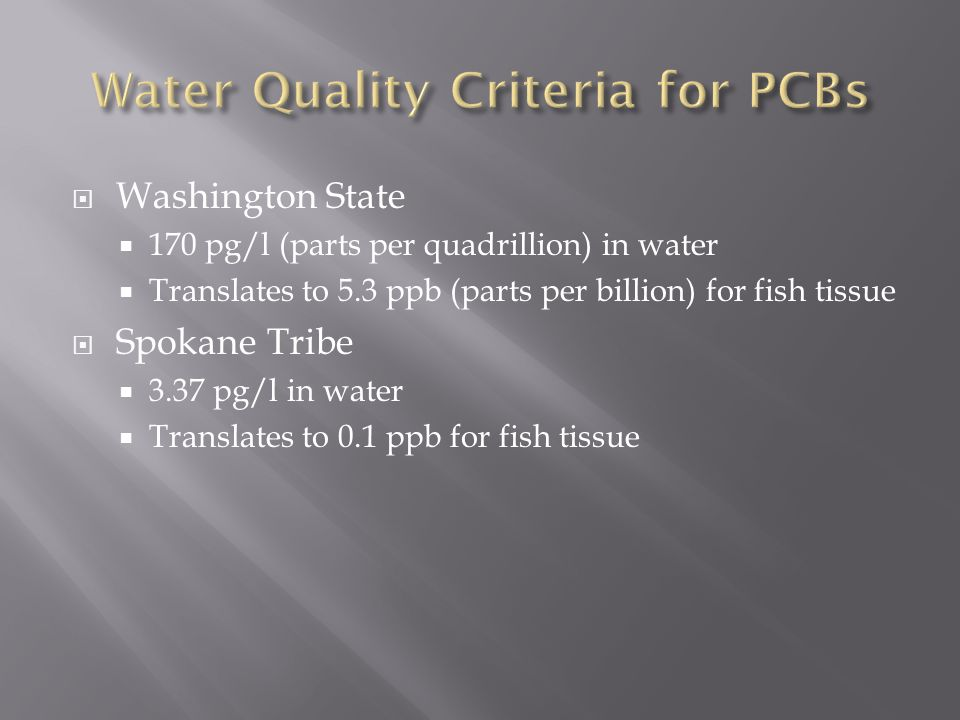 Washington State 170 pg/l (parts per quadrillion) in water Translates to 5.3 ppb (parts per billion) for fish tissue Spokane Tribe 3.37 pg/l in water Translates to 0.1 ppb for fish tissue
