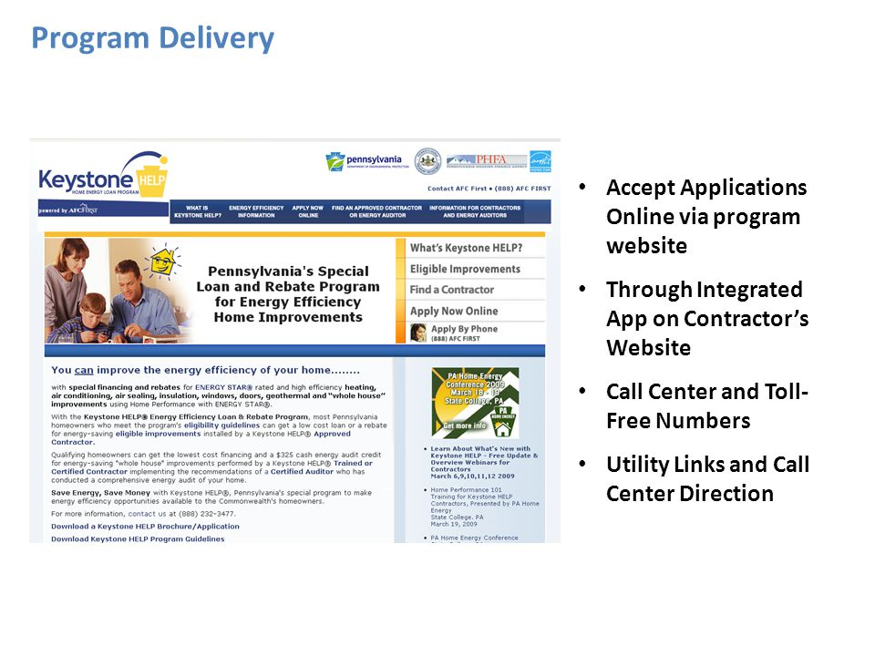 Program Delivery Accept Applications Online via program website Through Integrated App on Contractors Website Call Center and Toll- Free Numbers Utility Links and Call Center Direction