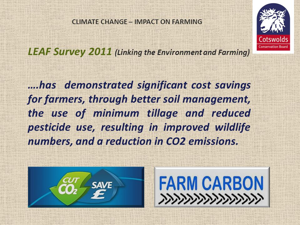 CLIMATE CHANGE – IMPACT ON FARMING LEAF Survey 2011 (Linking the Environment and Farming) ….has demonstrated significant cost savings for farmers, thr