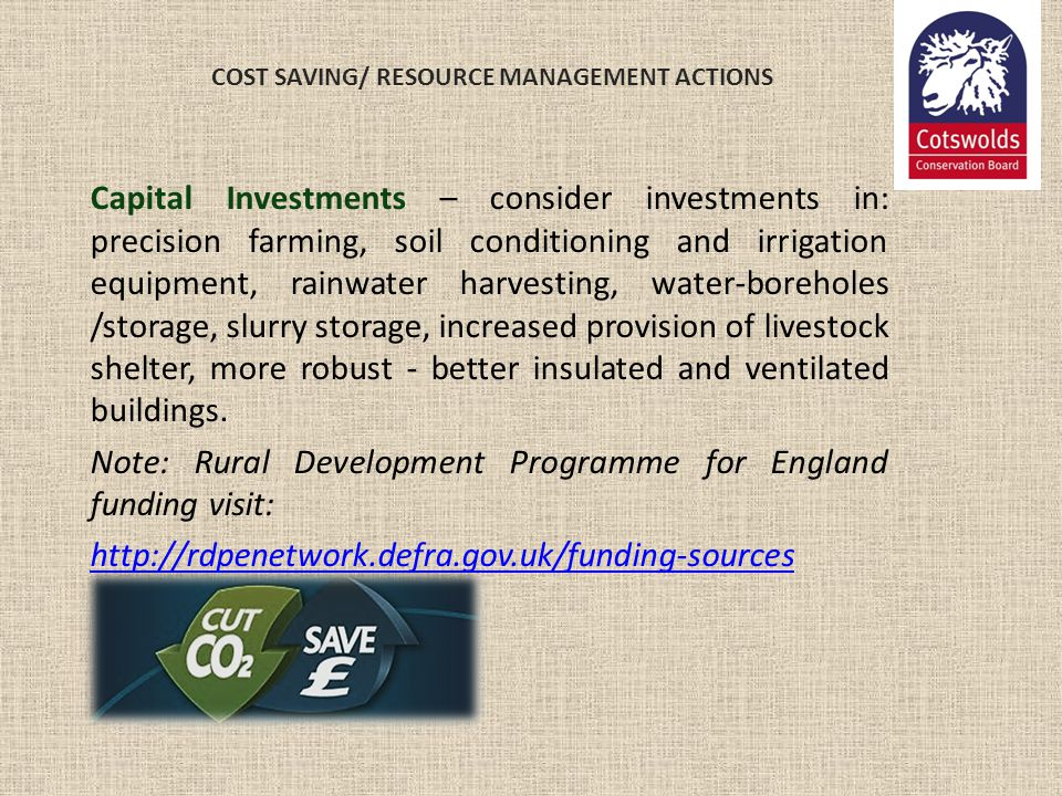 COST SAVING/ RESOURCE MANAGEMENT ACTIONS Capital Investments – consider investments in: precision farming, soil conditioning and irrigation equipment,
