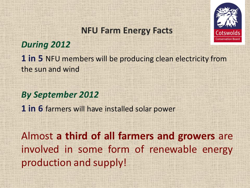 NFU Farm Energy Facts During 2012 1 in 5 NFU members will be producing clean electricity from the sun and wind By September 2012 1 in 6 farmers will h