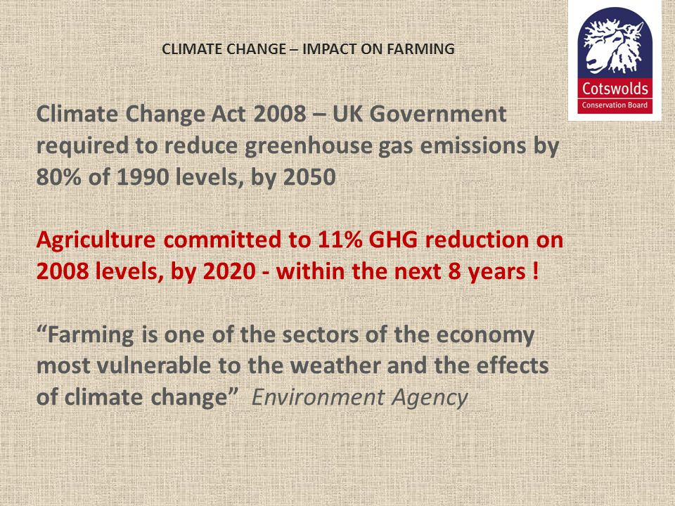 CLIMATE CHANGE – IMPACT ON FARMING Climate Change Act 2008 – UK Government required to reduce greenhouse gas emissions by 80% of 1990 levels, by 2050