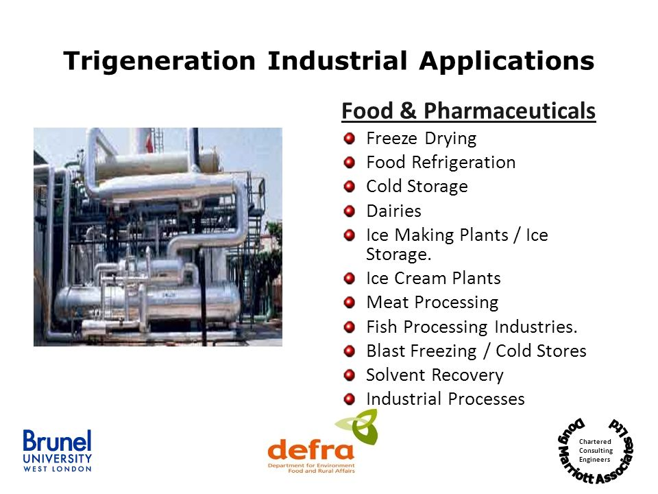 Chartered Consulting Engineers Trigeneration Industrial Applications Food & Pharmaceuticals Freeze Drying Food Refrigeration Cold Storage Dairies Ice Making Plants / Ice Storage.