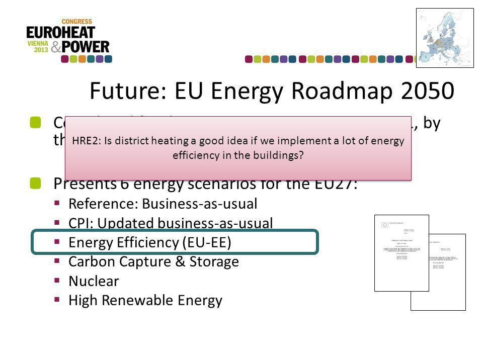 Future: EU Energy Roadmap 2050 Completed for the European Commission in 2011, by the National Technical University in Athens Presents 6 energy scenarios for the EU27: Reference: Business-as-usual CPI: Updated business-as-usual Energy Efficiency (EU-EE) Carbon Capture & Storage Nuclear High Renewable Energy HRE2: Is district heating a good idea if we implement a lot of energy efficiency in the buildings