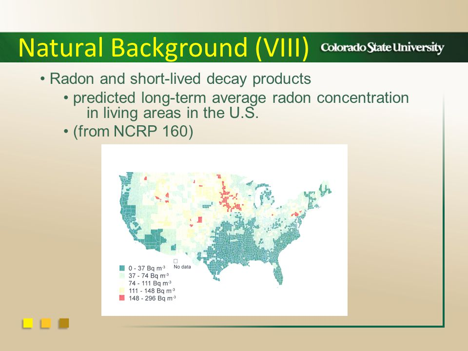 Natural Background (VIII) Radon and short-lived decay products predicted long-term average radon concentration in living areas in the U.S.