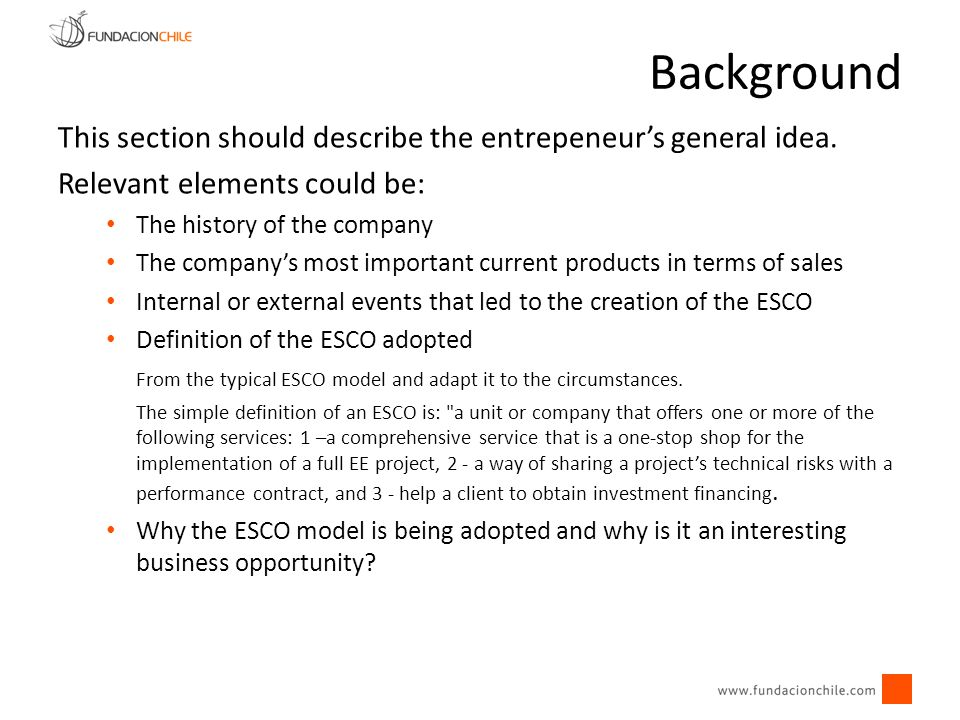 This section should describe the entrepeneurs general idea. Relevant elements could be: The history of the company The companys most important current