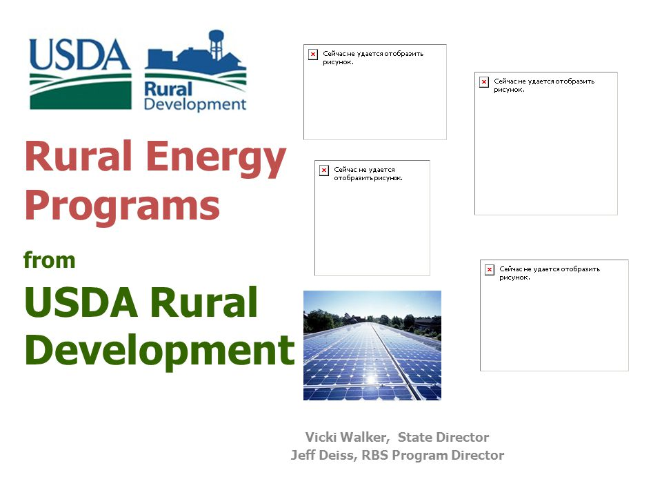Rural Energy Programs from USDA Rural Development Vicki Walker, State Director Jeff Deiss, RBS Program Director