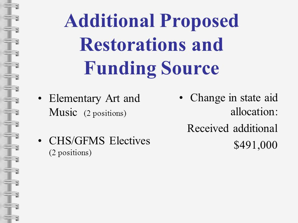Additional Proposed Restorations and Funding Source Elementary Art and Music (2 positions) CHS/GFMS Electives (2 positions) Change in state aid allocation: Received additional $491,000