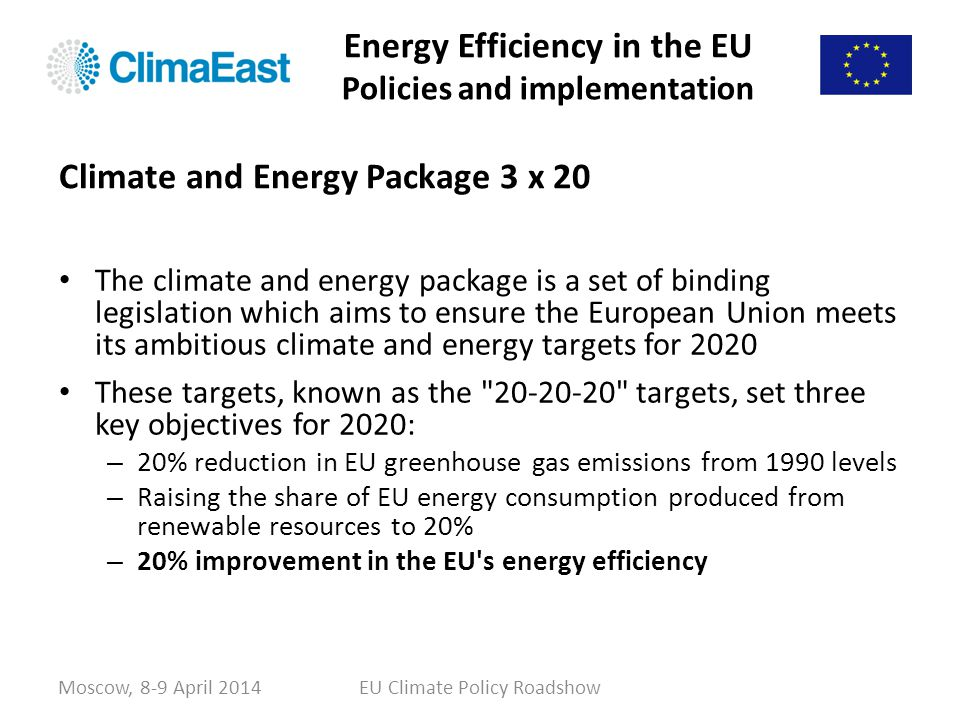 Energy Efficiency in the EU Policies and implementation The climate and energy package is a set of binding legislation which aims to ensure the Europe