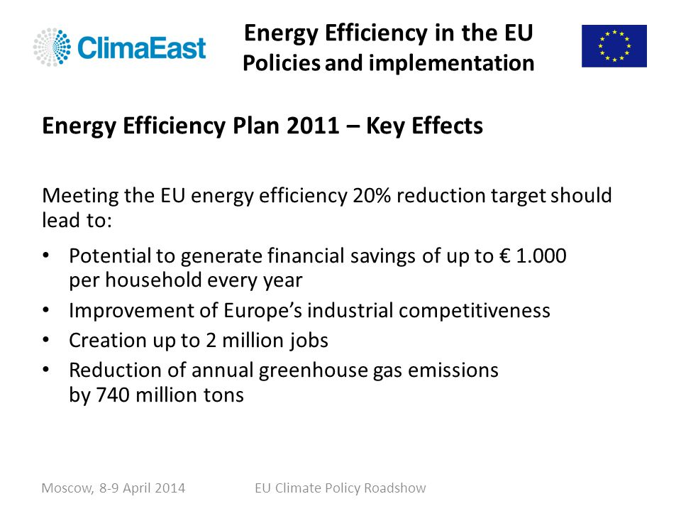 Energy Efficiency in the EU Policies and implementation Meeting the EU energy efficiency 20% reduction target should lead to: Potential to generate fi