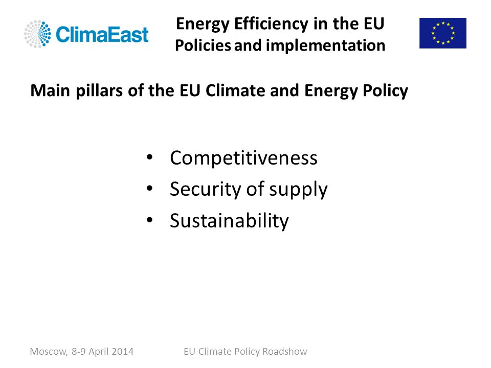 Energy Efficiency in the EU Policies and implementation Competitiveness Security of supply Sustainability Moscow, 8-9 April 2014EU Climate Policy Road