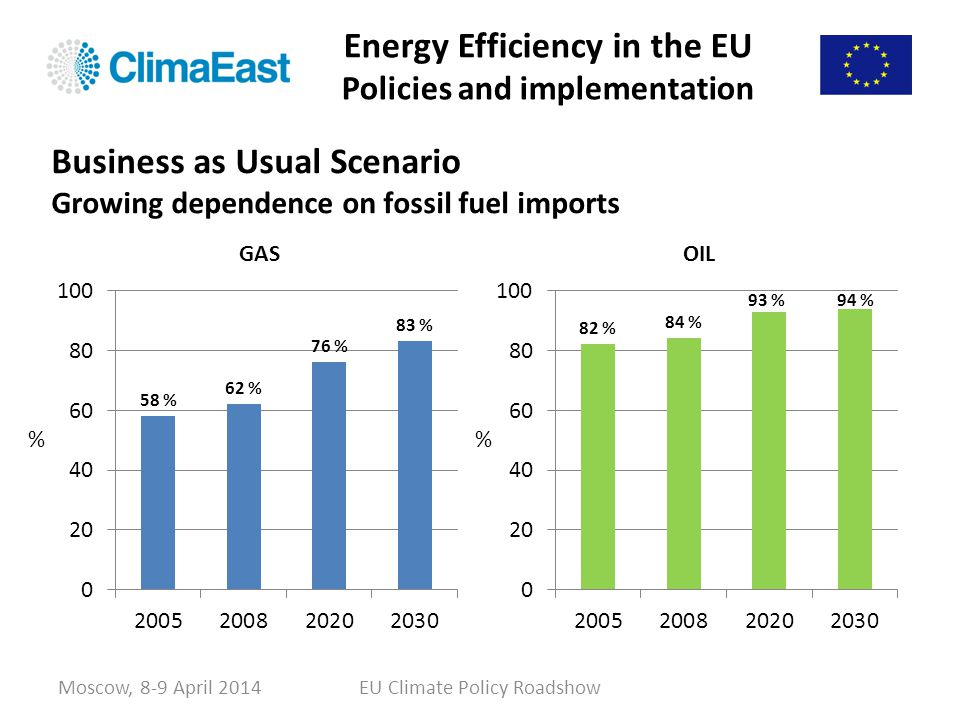 Energy Efficiency in the EU Policies and implementation % Moscow, 8-9 April 2014EU Climate Policy Roadshow Business as Usual Scenario Growing dependen