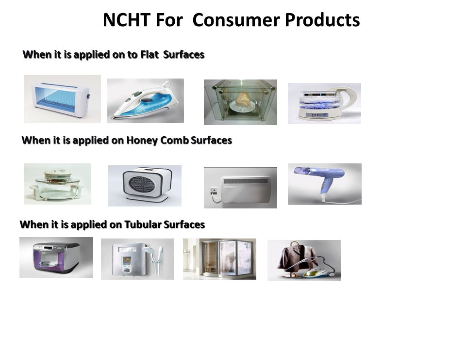 NCHT For Consumer Products When it is applied on to Flat Surfaces When it is applied on Tubular Surfaces When it is applied on Honey Comb Surfaces