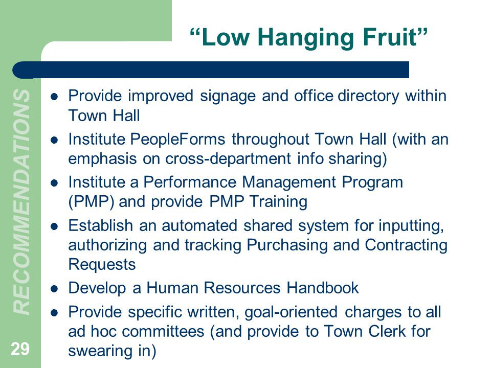 Low Hanging Fruit RECOMMENDATIONS 29 Provide improved signage and office directory within Town Hall Institute PeopleForms throughout Town Hall (with an emphasis on cross-department info sharing) Institute a Performance Management Program (PMP) and provide PMP Training Establish an automated shared system for inputting, authorizing and tracking Purchasing and Contracting Requests Develop a Human Resources Handbook Provide specific written, goal-oriented charges to all ad hoc committees (and provide to Town Clerk for swearing in)