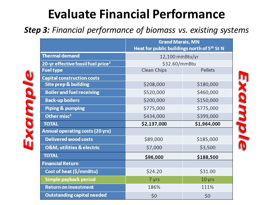 Step 3: Financial performance of biomass vs.