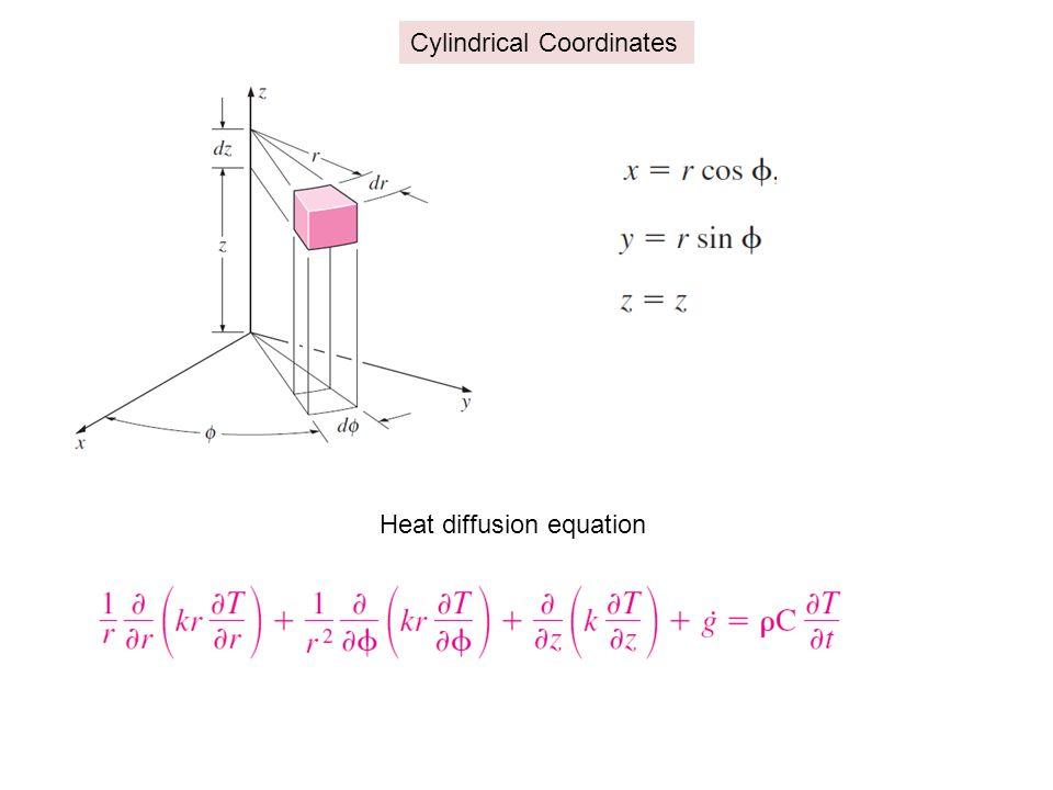 Cylindrical Coordinates Heat diffusion equation