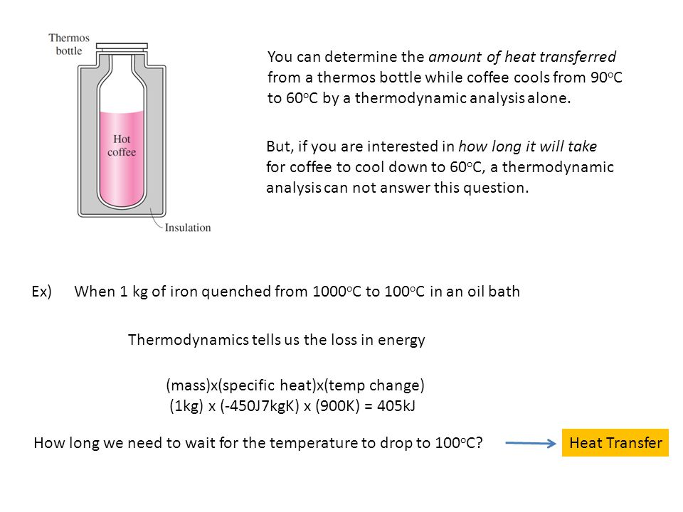 You can determine the amount of heat transferred from a thermos bottle while coffee cools from 90 o C to 60 o C by a thermodynamic analysis alone.