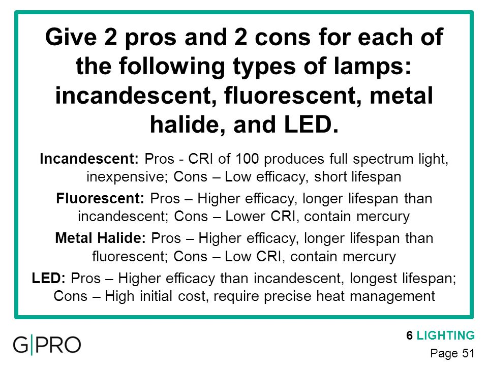 6 LIGHTING Page 51 Give 2 pros and 2 cons for each of the following types of lamps: incandescent, fluorescent, metal halide, and LED. Incandescent: Pr