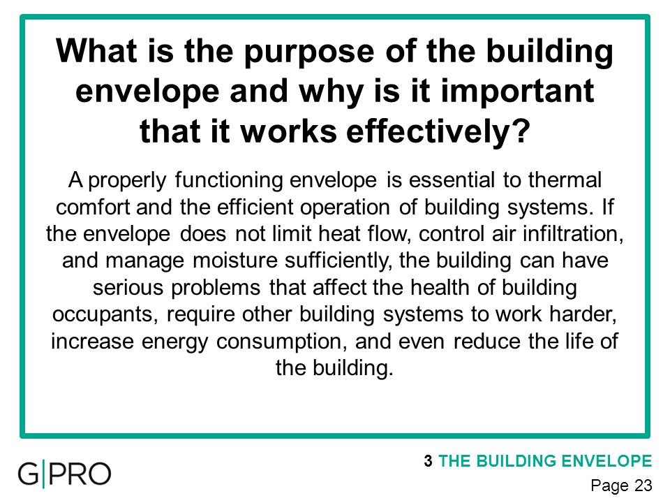 What is the purpose of the building envelope and why is it important that it works effectively? 3 THE BUILDING ENVELOPE Page 23 A properly functioning