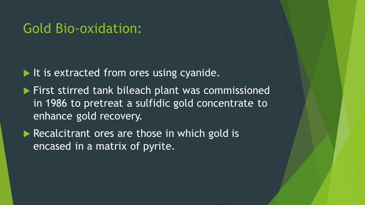 Gold Bio-oxidation: It is extracted from ores using cyanide. First stirred tank bileach plant was commissioned in 1986 to pretreat a sulfidic gold con