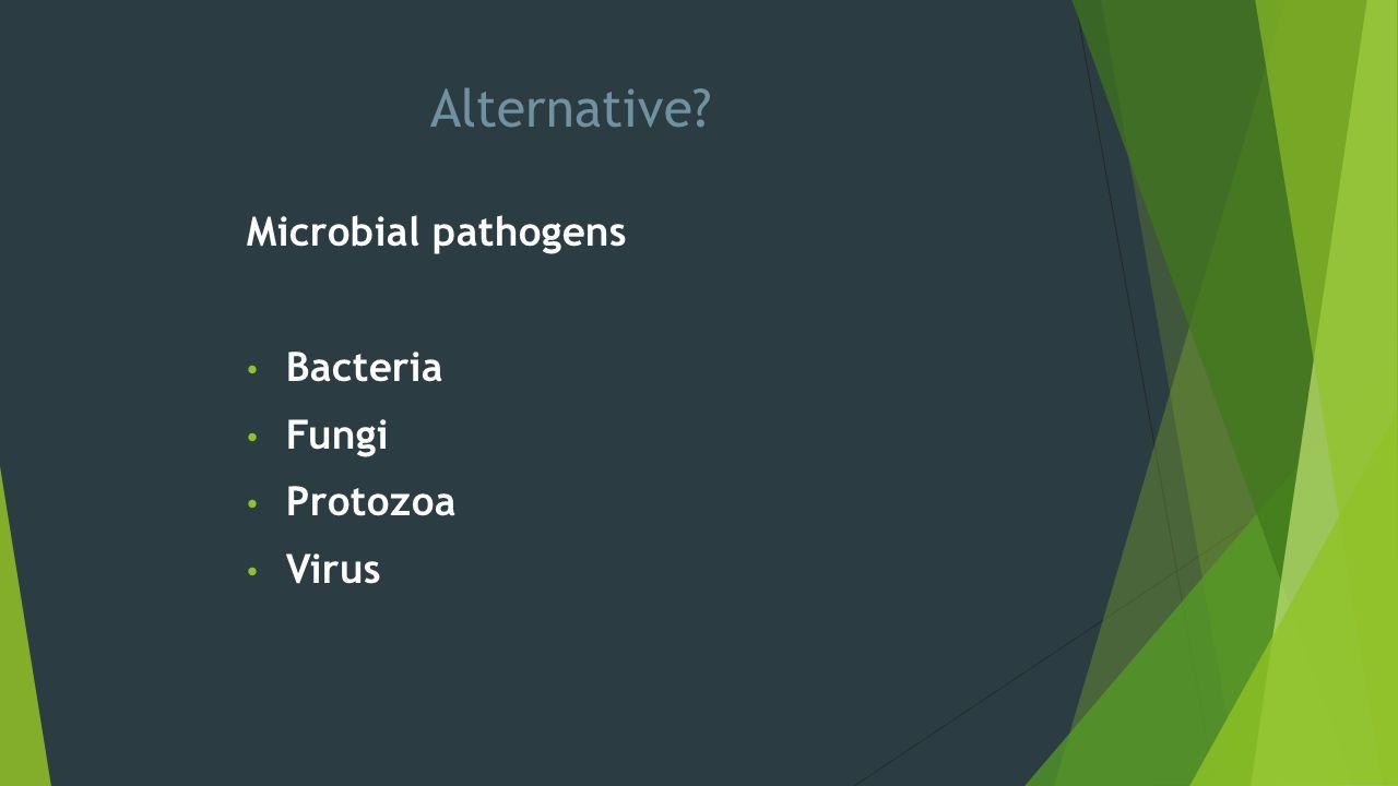 Alternative? Microbial pathogens Bacteria Fungi Protozoa Virus