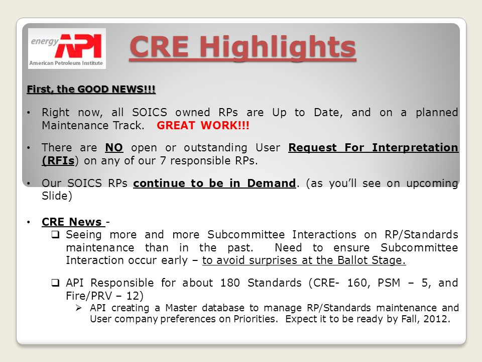 CRE Highlights First, the GOOD NEWS!!.
