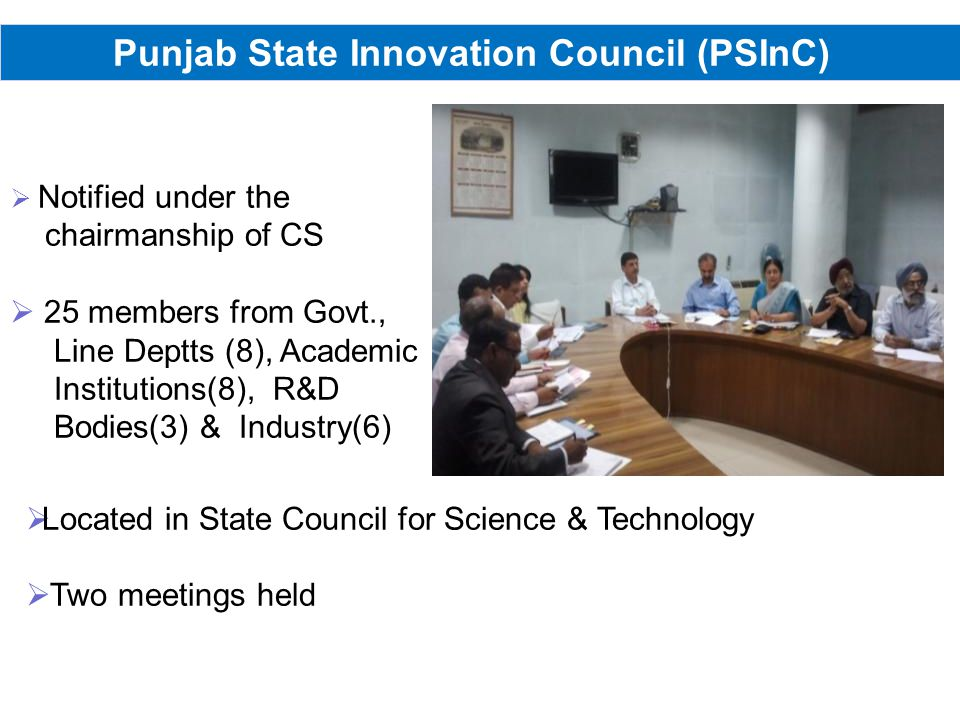 Punjab State Innovation Council (PSInC) Notified under the chairmanship of CS 25 members from Govt., Line Deptts (8), Academic Institutions(8), R&D Bodies(3) & Industry(6) Located in State Council for Science & Technology Two meetings held