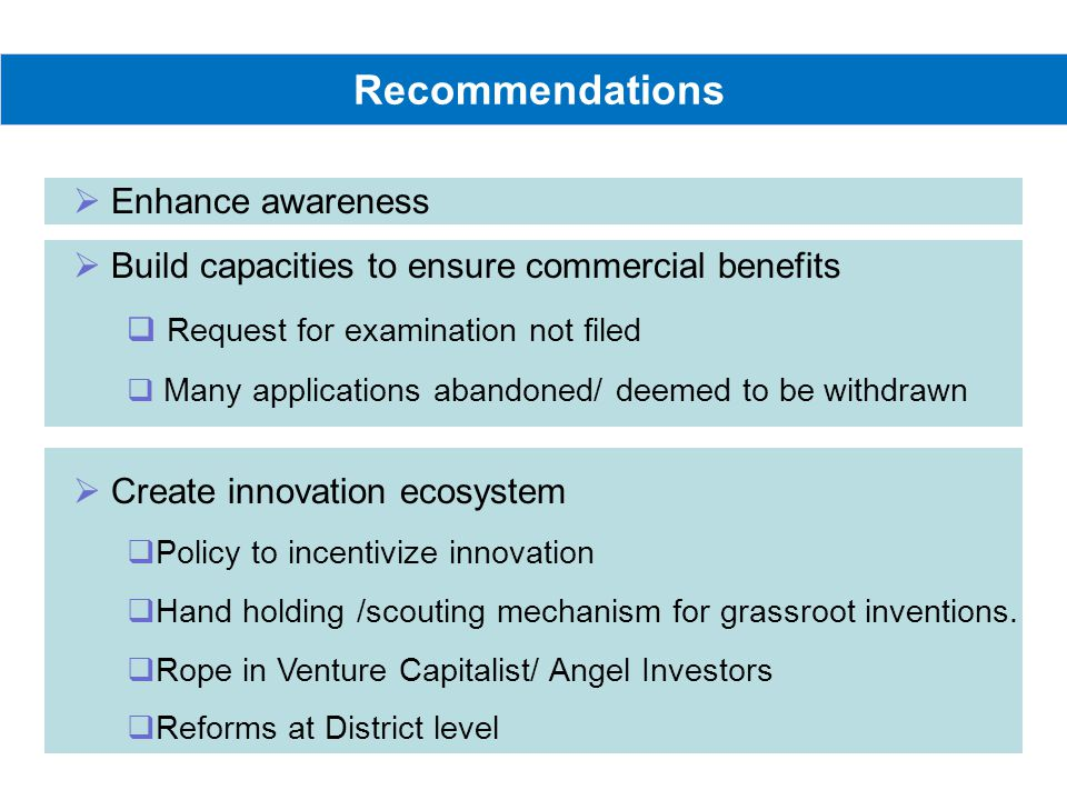 Recommendations Enhance awareness Build capacities to ensure commercial benefits Request for examination not filed Many applications abandoned/ deemed to be withdrawn Create innovation ecosystem Policy to incentivize innovation Hand holding /scouting mechanism for grassroot inventions.