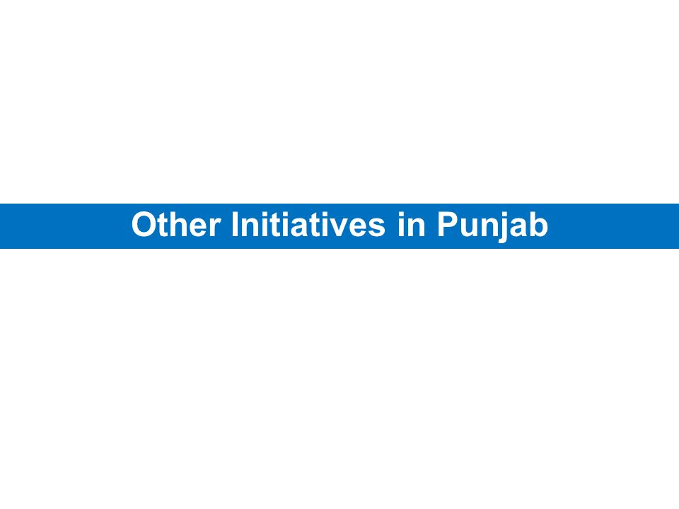 Other Initiatives in Punjab