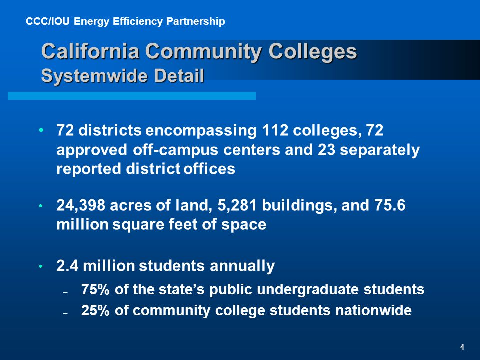 CCC/IOU Energy Efficiency Partnership 4 California Community Colleges Systemwide Detail 72 districts encompassing 112 colleges, 72 approved off-campus centers and 23 separately reported district offices 24,398 acres of land, 5,281 buildings, and 75.6 million square feet of space 2.4 million students annually – 75% of the states public undergraduate students – 25% of community college students nationwide