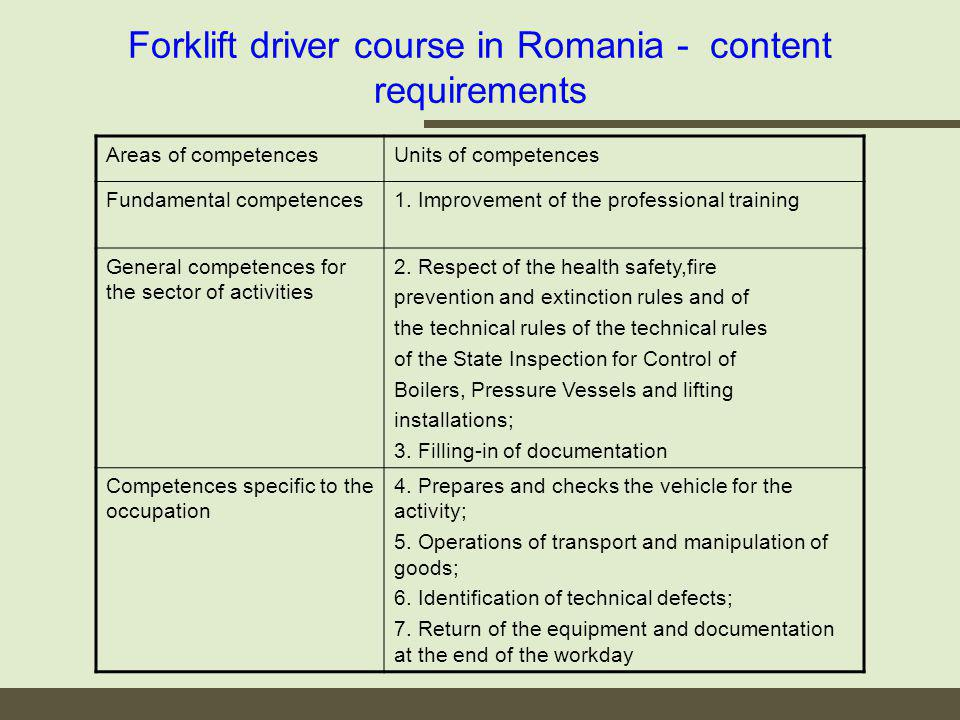 Forklift driver course in Romania - content requirements Areas of competencesUnits of competences Fundamental competences1.
