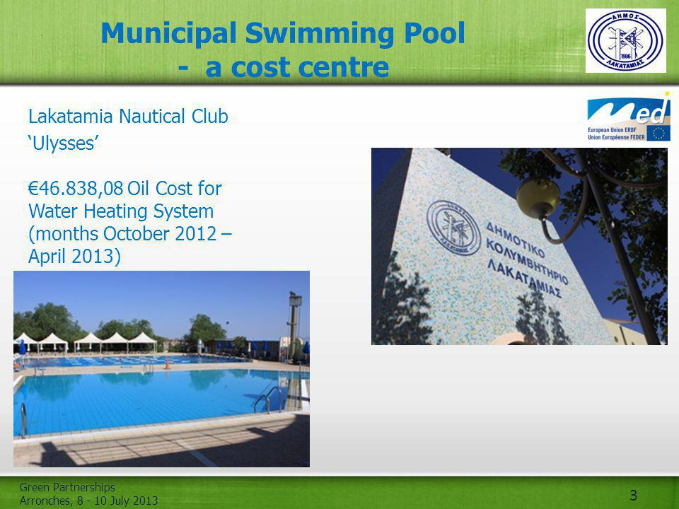 Green Partnerships Arronches, 8 - 10 July 2013 3 Municipal Swimming Pool - a cost centre Lakatamia Nautical Club Ulysses 46.838,08 Oil Cost for Water