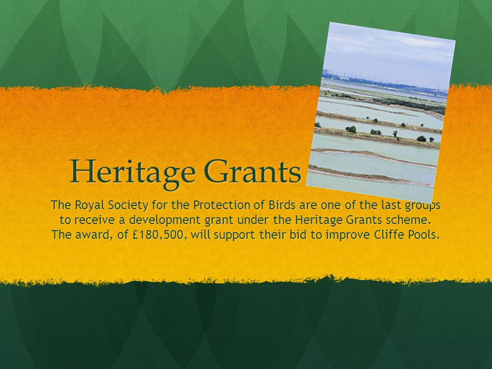 Heritage Grants Scheme The Royal Society for the Protection of Birds are one of the last groups to receive a development grant under the Heritage Grants scheme.