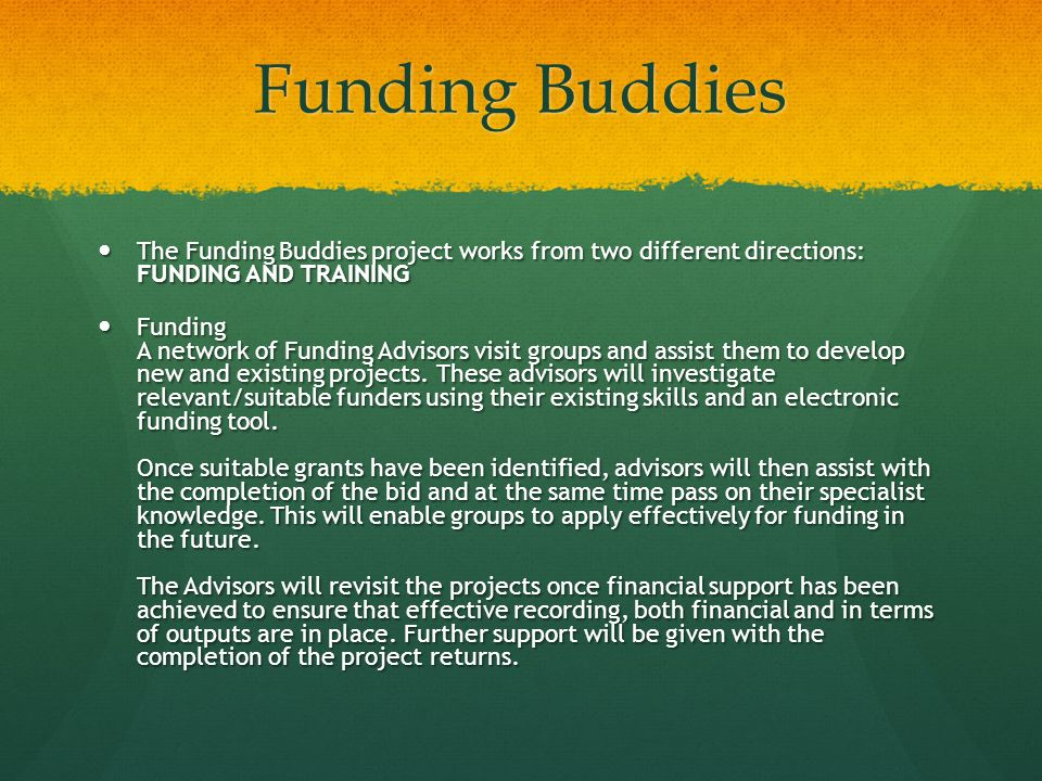 Funding Buddies The Funding Buddies project works from two different directions: FUNDING AND TRAINING The Funding Buddies project works from two different directions: FUNDING AND TRAINING Funding A network of Funding Advisors visit groups and assist them to develop new and existing projects.