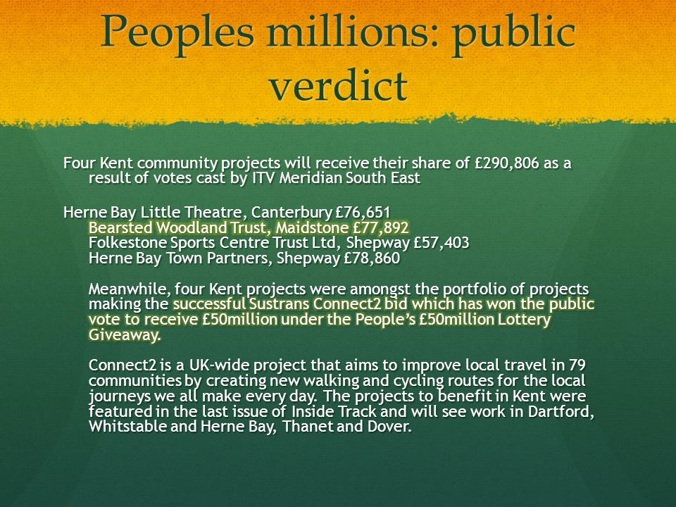 Peoples millions: public verdict