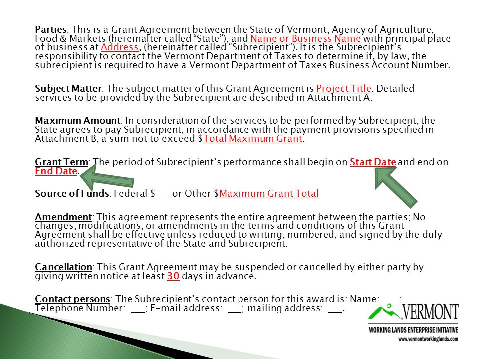 Parties: This is a Grant Agreement between the State of Vermont, Agency of Agriculture, Food & Markets (hereinafter called State), and Name or Business Name with principal place of business at Address, (hereinafter called Subrecipient).