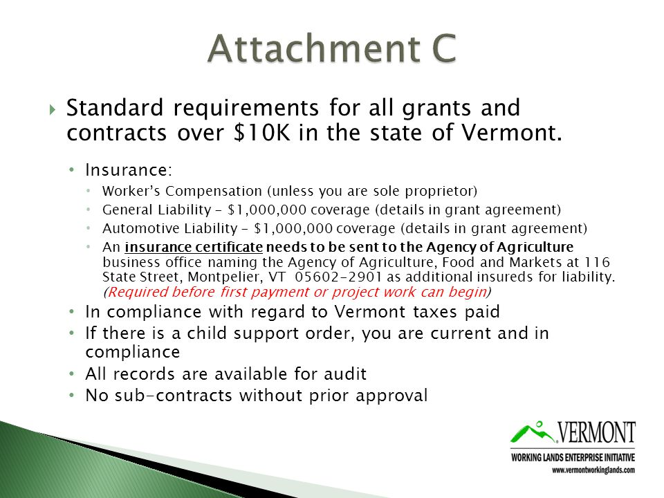 Standard requirements for all grants and contracts over $10K in the state of Vermont.