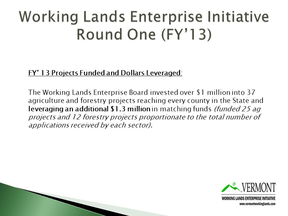 FY 13 Projects Funded and Dollars Leveraged: The Working Lands Enterprise Board invested over $1 million into 37 agriculture and forestry projects reaching every county in the State and leveraging an additional $1.3 million in matching funds (funded 25 ag projects and 12 forestry projects proportionate to the total number of applications received by each sector).